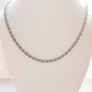 Silver Tone Rope Chain